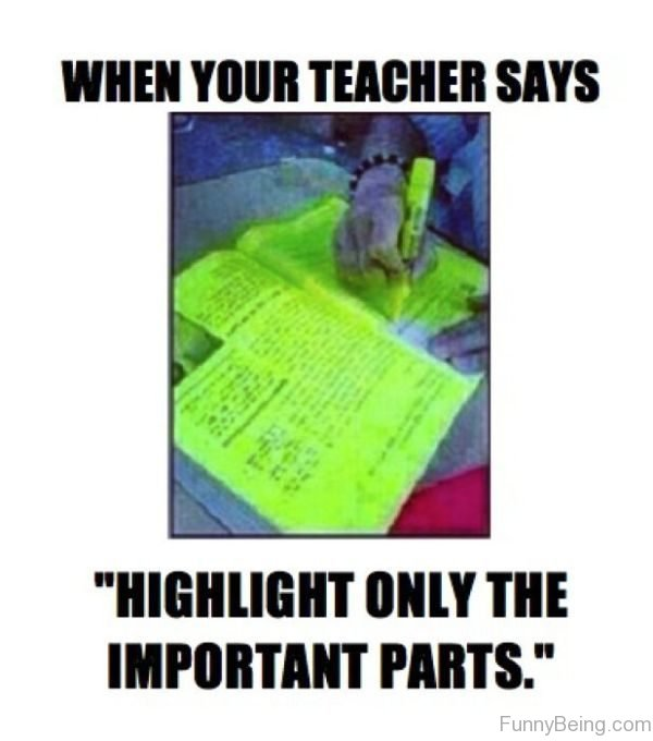When Your Teacher Says Highlight Only