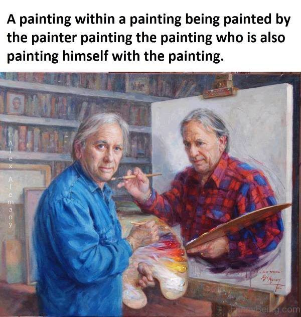 A Painting Within A Painting Being Painted