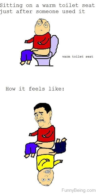 Sitting On A Wram Toilet Seat