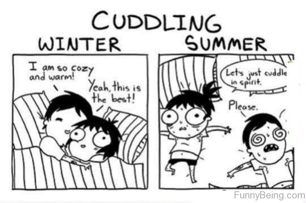 Cuddling In Winter Vs Summer 600x398 90 best summer memes,Summer Memes 2017