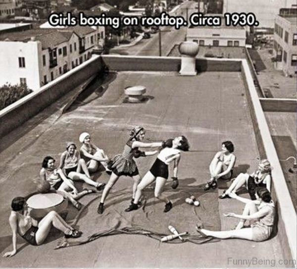 Girls Boxing On Rooftop