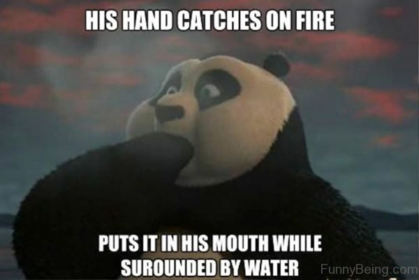 His Hand Catches On Fire