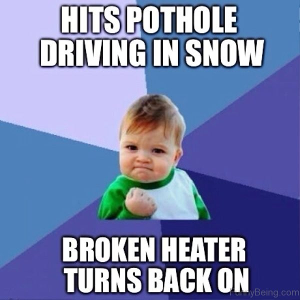 Hits Pothole Driving In Snow
