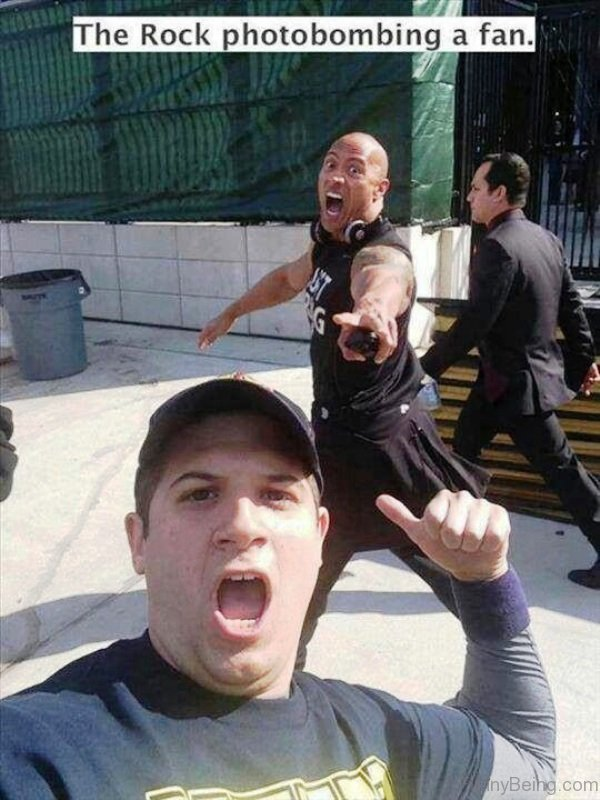 The Rock Photobombing A Fan