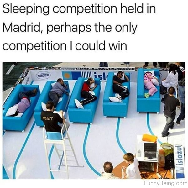 Sleeping Competition Held In Madrid